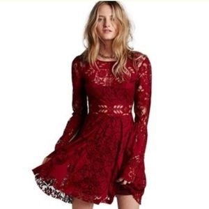 Free People burgundy lace lovers folk song dress